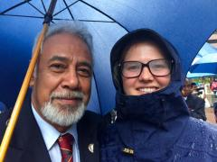 Hannah Thornton and His Excellency Xanana Gusmao at ANZAC March 25/04/2016