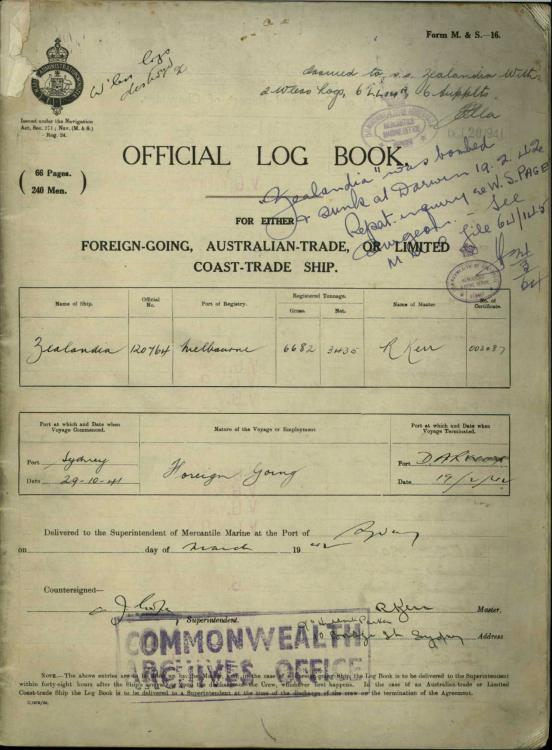Zealandia official log book - front page.jpg