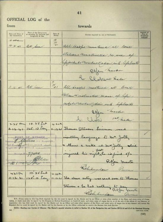 Zealandia log book entry - Koepang voyage December 1941 2.jpg