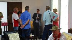 Dili - Australian Ambassador's Residence - Tour group members talking to Ambassador.JPG
