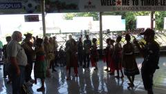 Dili - Arport - Welcome dancers presenting tais.JPG