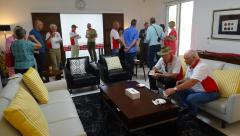 Dili - Australian Ambassador's Residence - Tour group members talking to Ambassador 1.JPG